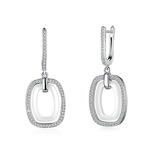 Beydodo 925 Silber Ohrringe Frauen Rechteck Weiß Zirkonia Hochzeit Ohrringe Damen Ohrhänger (Jungs Kostüm Einfach Indischen Für)