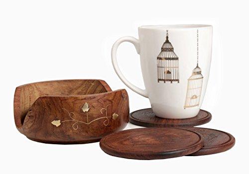 a mano in legno Coasters Set di 6 In Supporto 8.89 cm con... ()
