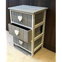 Classy Love Heart Chest Of Drawers Wooden Shabby Chic Vintage White Grey Girls Bedroom Bedside Table