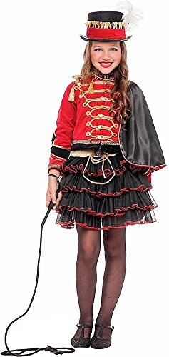 Italian made Deluxe Mädchen 4 Stück Zirkusdirektor Rädelsführer Karneval Fest Halloween Welttag des Buches Woche Kostüm Kleid Outfit 3-10 Jahre - Rot, 8 years