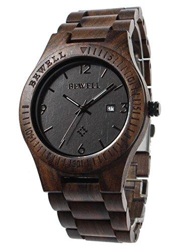 FunkyTop Herren Business Armbanduhren 100% Natürlich Holz Analog Quarzwerk mit Kalender Display Holz Uhr (Ebenholz)