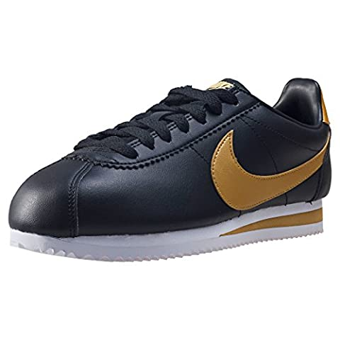 Nike Damen Classic Cortez Leather Sneaker, Schwarz (Black/Metallic Gold), 40 EU