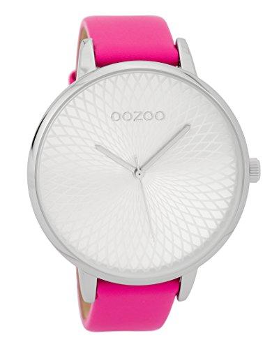 Oozoo Damenuhr mit Lederband 48 MM Silberfarben/Neon Pink C9564