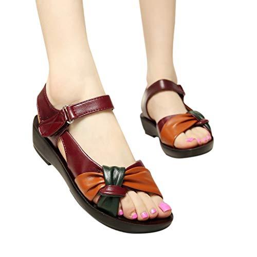 Deloito Damen 2019 Sommer Mode Freizeit Lederknoten weicher Boden Sandalen Keile Komfort Sandaletten Große Größe Schwanger Faule Strandschuhe (Rot,43 EU)