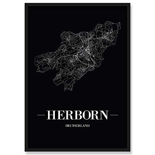JUNIWORDS Stadtposter, Herborn, Wähle eine Größe, 40 x 60 cm, Poster mit Rahmen, Schrift A, Schwarz