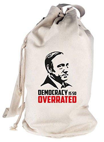 HOC - Democracy Is So Overrated, bedruckter Seesack Umhängetasche Schultertasche Beutel Bag Natur