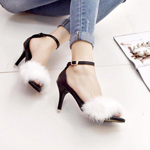 Rawdah Sandales Femme Rawdah Escarpins Kitten-Heel Sandales à Talons Hauts Chaussures à Talons à La Fourrure Blanc