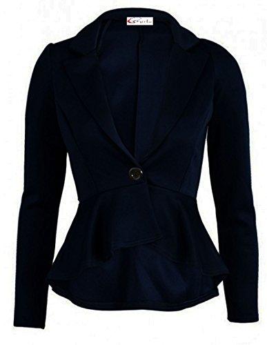 Nuovo da donna più elevata effetto Shift sottile peplo Blazer giacca misura da donna 8-24 Blu navy