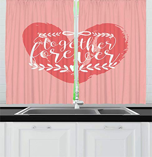 Saying Kitchen Curtains, Valentines Day Together Forever Calligraphy on Heart with Laurel Branches, Window Drapes 2 Panel Set for Kitchen Cafe Decor, Blush Coral and White 110x86 in -