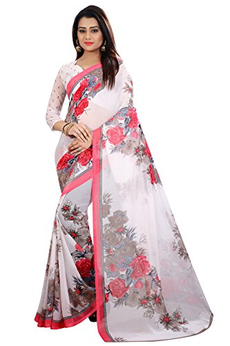 Kanchan Women's Soft Georgette Saree (White)