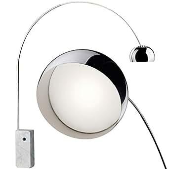 lampe arco flos base de marbre blanch led. Black Bedroom Furniture Sets. Home Design Ideas