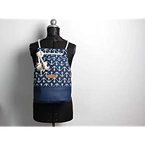 Blauer Seesack mit Ankermuster, Seesack aus canvas mitweißer Baumwollkordel