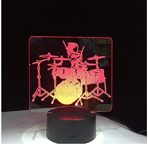 2D Acrílico Conjunto de Batería de Música Ilusión Óptica 3D Luz de Humor 7 Colores Cambiar Luminaria Lava Lámpara Niños Luz Nocturna Regalos Drop Ship