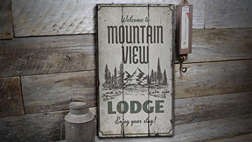 YCCCYOZ Schild mit Bergblick, Berghütte, Hunters Lodge, Camping Dekor, Holzkabinendekoration, Indoor Outdoor Wand Tür Holzschilder für Seen (Outdoor-camping-dekor)