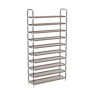 Sable Shoe Rack Storage, 10-Tier for 50 Pairs of Shoes, Shoe Organiser with Waterproof Fabric Tiers