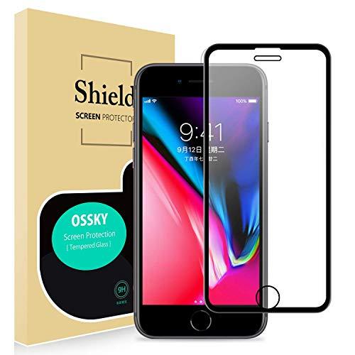 Ossky Panzerglas Schutzfolie Full Screen Cover Kompatibel für iPhone 6 / 6s / 7/8 panzerglasfolie 3D Touch kompatibel, 9H Härte, Hüllenfreundlich, HD Ultra Klar, Schutz vor Öl und Kratzer - schwarz