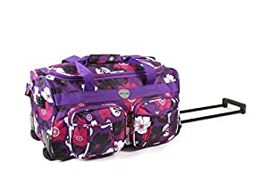 """Cabin Approved Suitcase Luggage Travel TROLLEY Bag. Womens Mens & Girls, Design Twin Handle 20"""" approx (H32cm X W50cm X D27cm) wheeled, PURPLE WITH BLACK AND PINK FLOWERS, 20"""" Twin Handle Wheeled Holdall Weekend Bag, Maternity Bag, Hospital Bag, Baby Bag"""