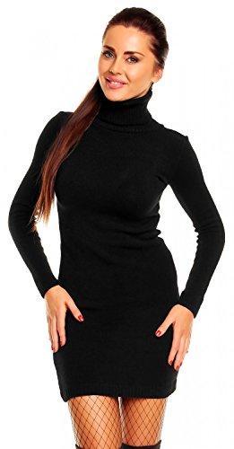 Zeta Ville - Damen Strick-kleid mit Rollkragen - Minikleid mit Stehkragen - 888z (Schwarz, 36/40)