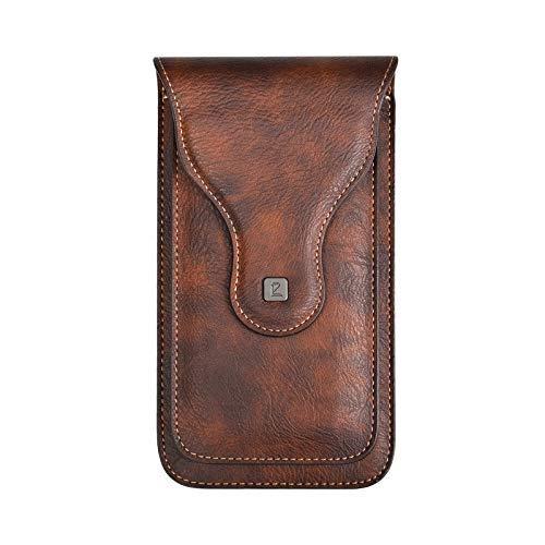 Techcircle Gürteltasche für Herren, Leder, mit Abnehmbarer Gürtelschlaufe für iPhone 8 Plus/Xs Max, Samsung Galaxy Note 9/S9, 16,5 cm, braun