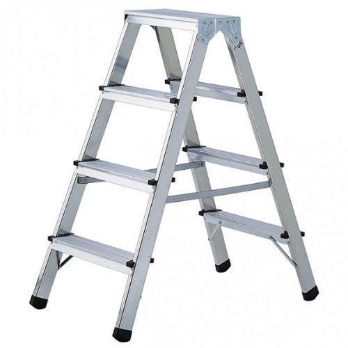 Brennenstuhl 1412050 Doppelstufenleiter Aluminium Handwerkerqualität 2 x 4 Stufen
