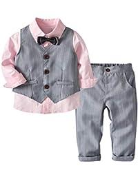 a15cedea9 K-youth Conjunto de Cuatro Piezas para Bebé Niño 1-4 Años Ropa Niño y Niña  Gentleman Camisa de Manga Larga Bowtie + Chaqueta +…