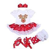 BabyPreg Neonate mio primo Natale costume della Santa del partito del vestito 4PCS (M/6-9Mesi, Pecore Corto)