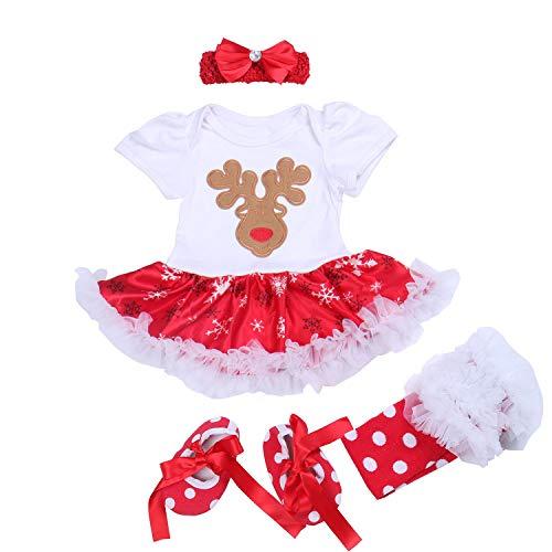 BabyPreg Baby Mädchen Mein Erstes Weihnachten Sankt Kostüm-Partei-Kleid 4PCS (S/ 3-6 Monate, Schafe kurz)
