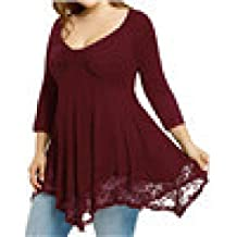 Blusas Elegantes Mujer Talla Grande,Amlaiworld Camisa de Encaje de Mujer Camisa Larga
