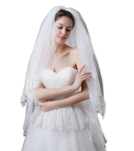 JASNO 2 Tier Short Bridal Veil Spitze Applikation mit Kamm Fingerspitze Länge Weiß (Rouge Schleier)