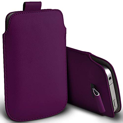 Price comparison product image I-Sonite (Dark Purple) Premium Slip In Pull Tab Sleeve Faux Leather Pouch Case Cover For Samsung Galaxy S8 Plus [XXXL]