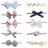 DELEBAO Baby Stirnbänder Haarschleife Stirnband Baby Mädchen Neugeborenen Haarband Headwrap für Kinder Weich Kopfband Baby Accessoires 10 Stück