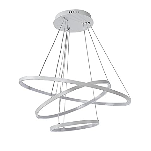 TOPQSC Modern Nature White LED Acrylic and Aluminum Pendant Light With 3 Rings LED