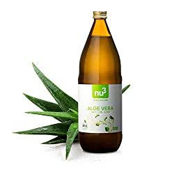nu3 Organic aloe vera juice | 1 Litre in a glass bottle | Aloe vera gel extracted from deep-leaf fillets | Plant-juice from 100% organic farming | Natural (undiluted) refreshing drink