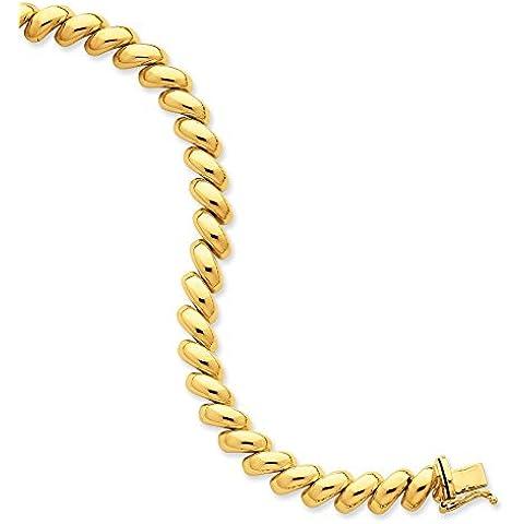14K oro Lucidato San Marco Collana–Scatola Chiusura–43centimetri
