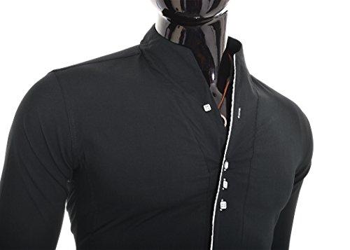 Herren Hemd Kontrastlinie Entlang Befestigungs Stehkragen Weiß Schwarz Schwarz