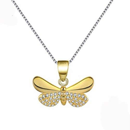 izubizu London echtem Schmetterling Anhänger 925Sterling Silber Gold Farbe Bee Halskette-Luxus-Geschenk-Box (Halskette Box Schmetterling Geschenk)