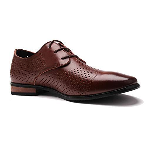 Brown Italienischen Leder Handgefertigt (Herren Business Schuhe Spitzen Spitze Openwork Schuhe Leder Casual Echt Atmungsaktiv Formale Büro Business Schuh,Brown-43)