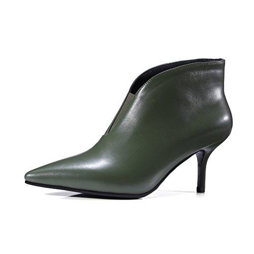 QIN&X Donna Punta Stiletto Tacchi Alti breve Stivaletti pattini della piattaforma Dark Green