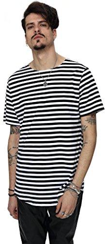 Pizoff Unisex Hip Hop Urban Basic langes T Shirts mit bretonischen Streifen mit rundem Saum Y1724-Black-M (Womens Sleeve Tee Fitted Cap)
