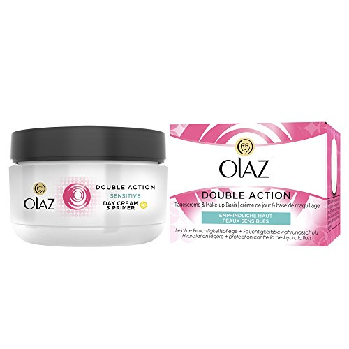 Olaz Double Action Tagescreme & Make-up Basis Feuchtigkeitspflege für empfindliche Haut, 50 ml