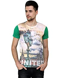 Wear Your Mind Green Cotton Round-Neck Printed T-shirt For Men TSS050