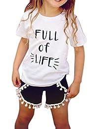Ropa Conjuntos de Niña SMARTLADY Camiseta y Pantalones cortos de borlas para 2-7 años Niña