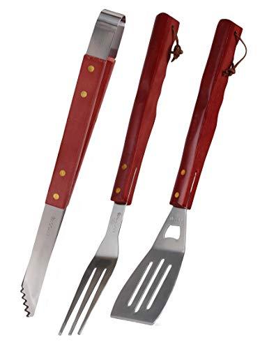 Ecoix Grillbesteck-Set aus Holz & Edelstahl | Grillzange, Fleischgabel und Grillwender | Lange Holzgriffe und top Verarbeitung
