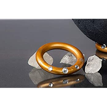 Halter für Lichtschale – Ring gold mit Glitzersteinen für Lichtschalen Göße XS, S und M – Unikat handmade – Windlicht…