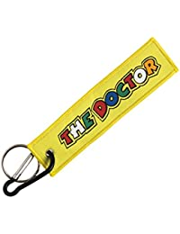 Techpro Premium Quality Cloth Locking Keychain With Doublesided Yellow Dr46 Valentino Rossi Design