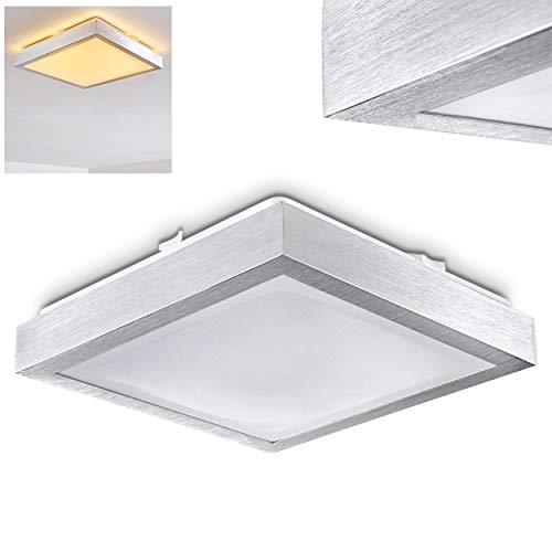 LED Deckenleuchte Wutach, eckige Deckenlampe aus Metall in Alu gebürstet, 1 x 18 Watt, 1380 Lumen, Lichtfarbe 3000 Kelvin (warmweiß), IP 44, auch für das Badezimmer geeignet -