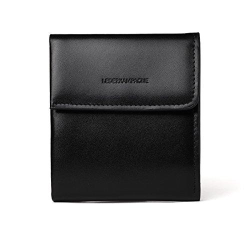 Premium Unisex Leder-Geldbörse schwarz, Portemonnaie mit Münzfach, Slim Geldbeutel, Herren Damen, Wallet RFID Schutz