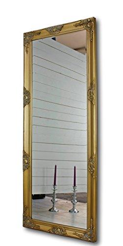 elbmöbel Wandspiegel Gold Antik Leichter Patina 150 x 60cm mit Holz-Rahmen Landhaus-Stil