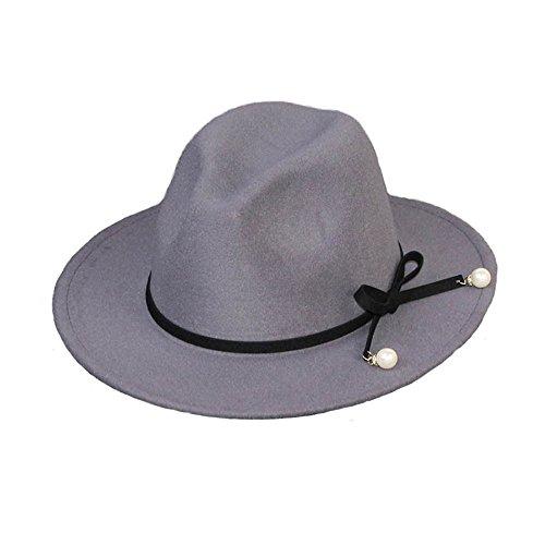 Frauen Mädchen Modisch Herbst Winter Schleife Perle Jazz Hut Trilby-Hut Grau (Cowboy-hüte Frauen Für Filz)