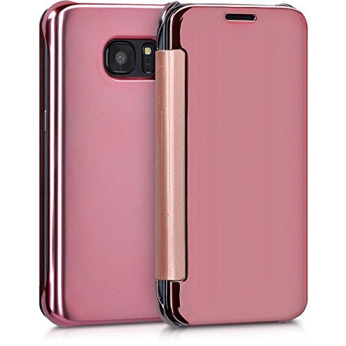 Kwmobile cover per samsung galaxy s7 - custodia flip protettiva a specchio effetto alluminio - case a libro per cellulare oro rosa riflettente